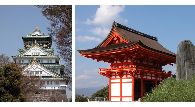 Famous landmarks in Osaka & Kyoto, Japan.